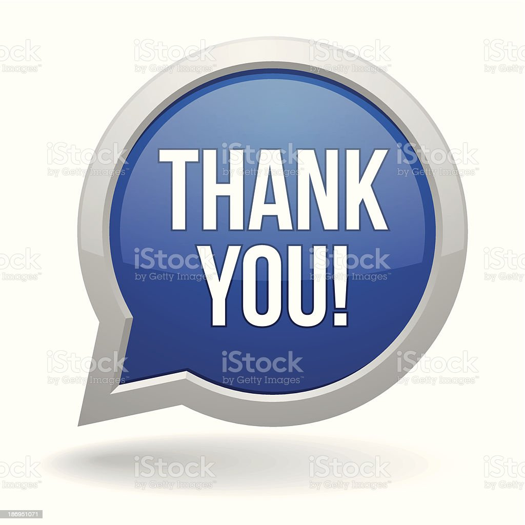 Blue round thank you speech bubble royalty-free stock vector art