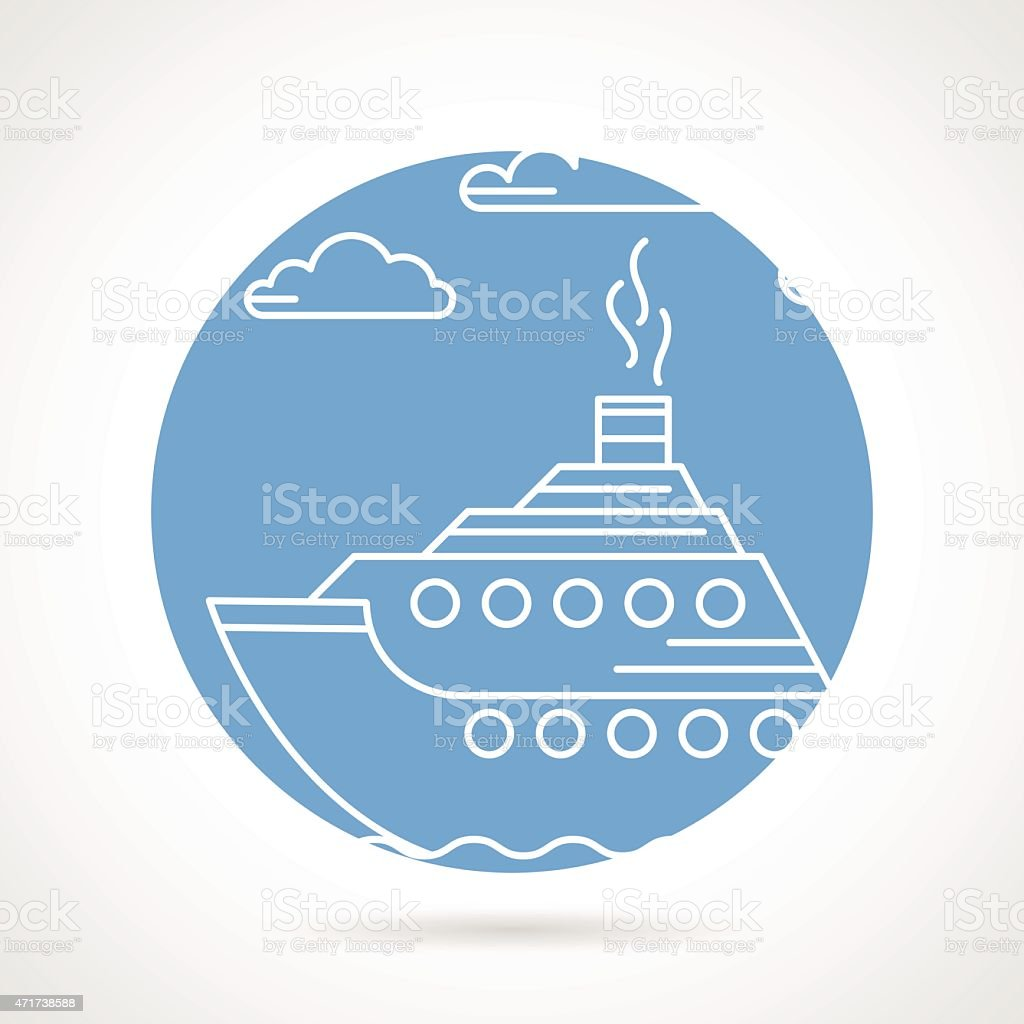 Blue round vector icon for steamer vector art illustration