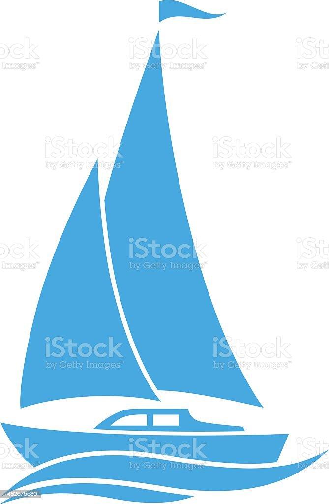 Blue sailboat icon vector art illustration