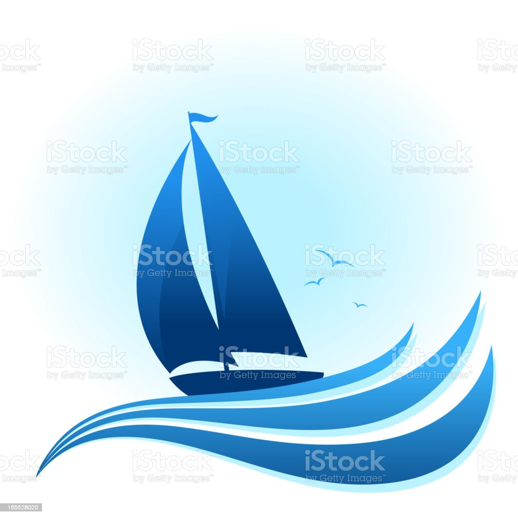 Blue sailboat illustration with waves and birds vector art illustration