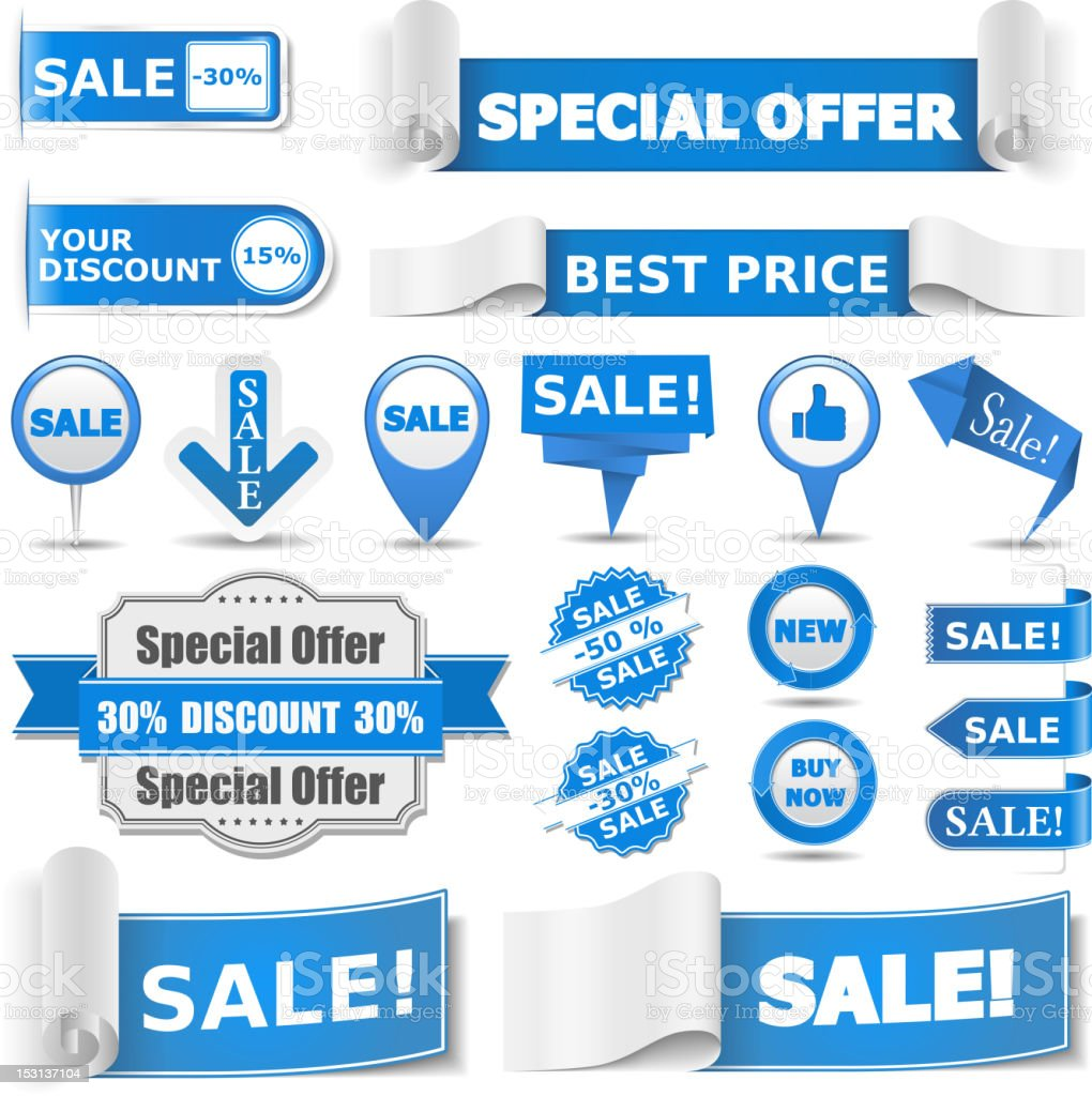 Blue sale banners offering various savings royalty-free stock vector art