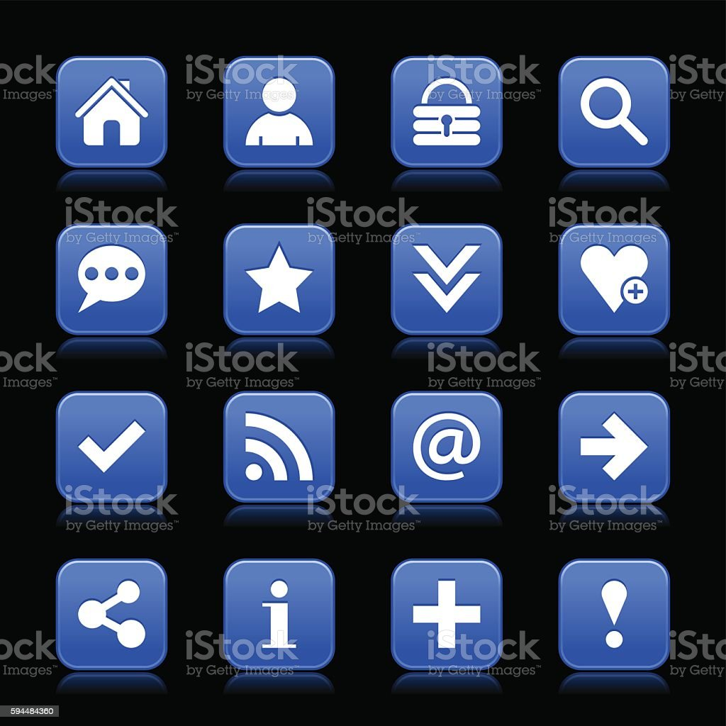 Blue satin icon web button with white basic sign vector art illustration