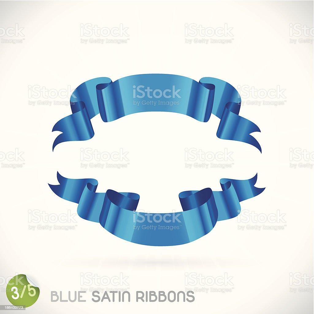 Blue Satin Ribbons vector art illustration