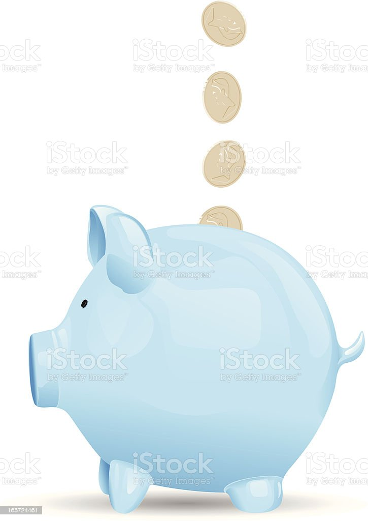 A blue savings piggy bank getting coin royalty-free stock vector art