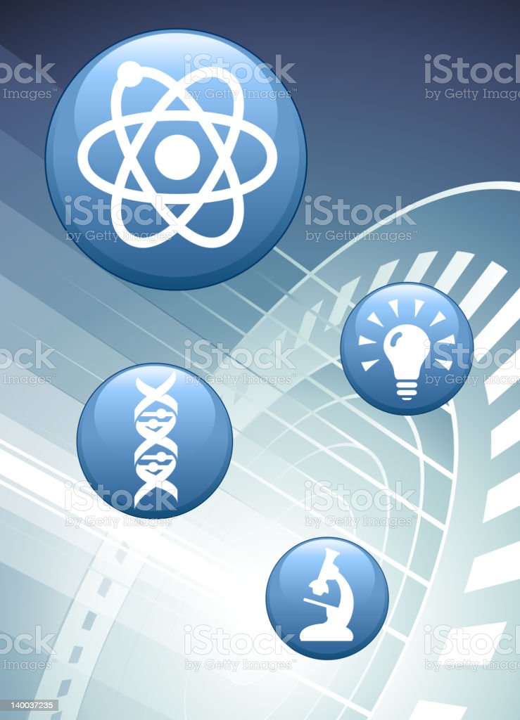 blue scientific buttons/icons on an abstract background royalty-free stock vector art