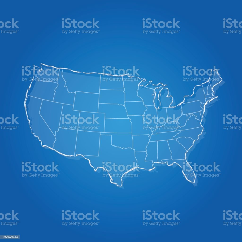 USA blue scribbled states map on light blue background vector art illustration