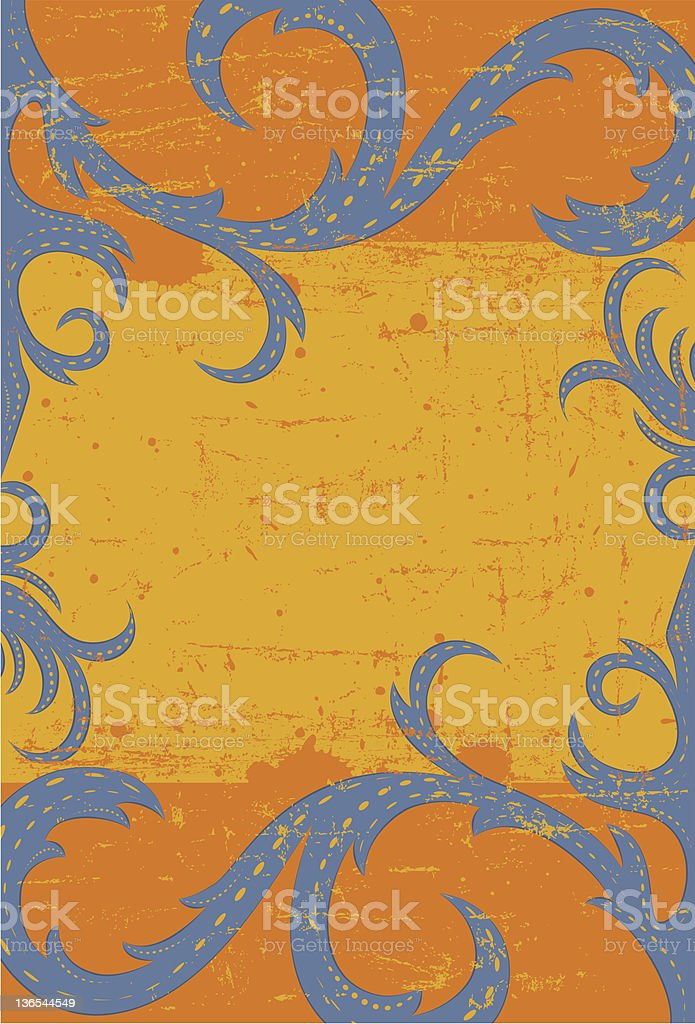 Blue scroll frame royalty-free stock vector art