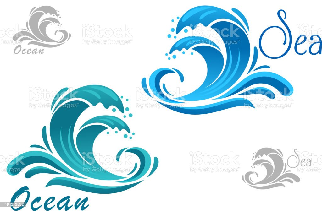 Blue sea waves icon with water splash vector art illustration