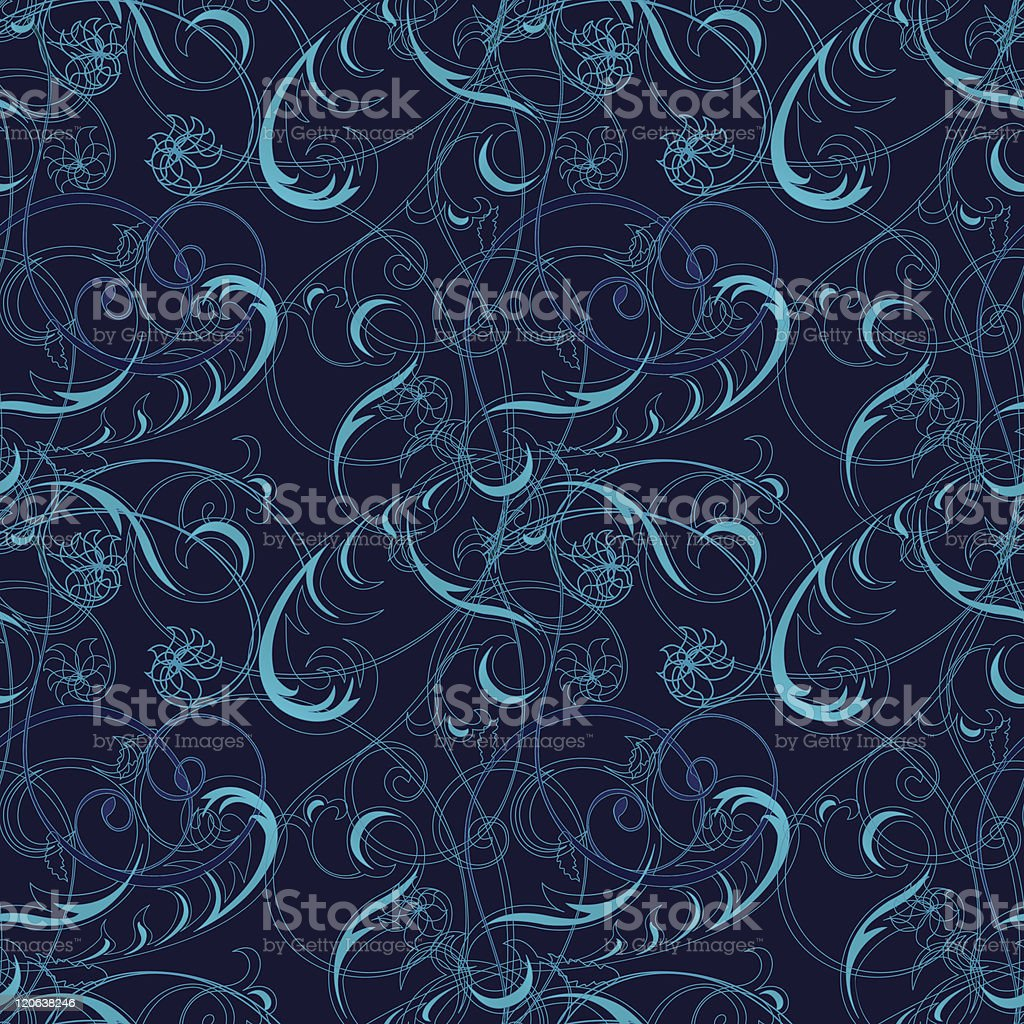 Blue seamless background with classical floral pattern royalty-free stock vector art