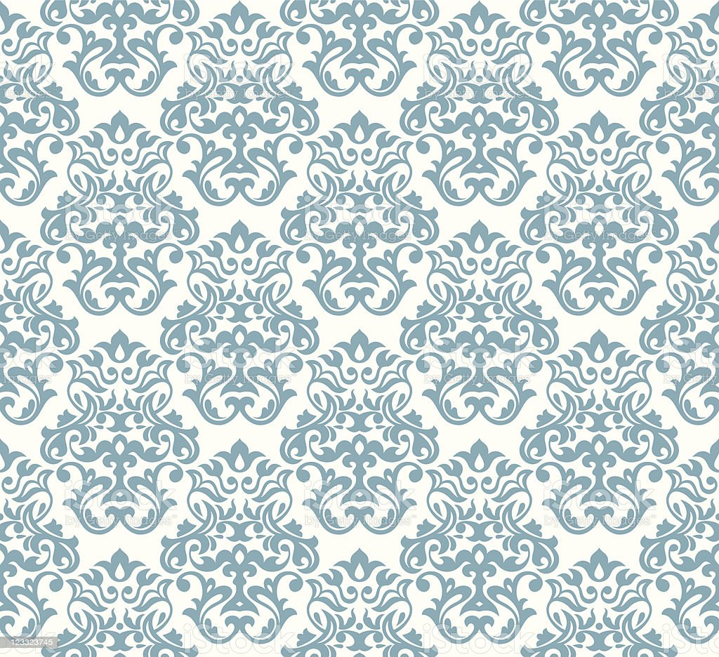 Blue seamless damask background vector art illustration