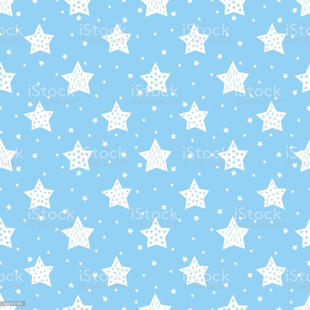 Blue seamless pattern with cute stars for kids. vector art illustration