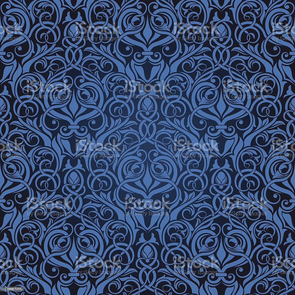 Blue seamless wallpaper royalty-free stock vector art