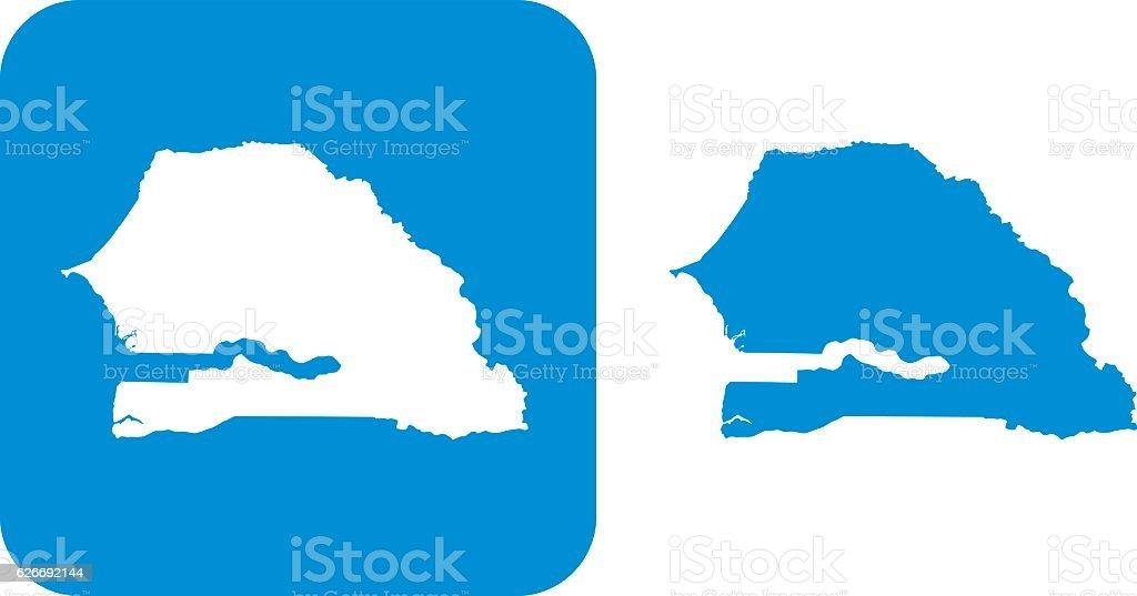 Blue Senegal Icons vector art illustration