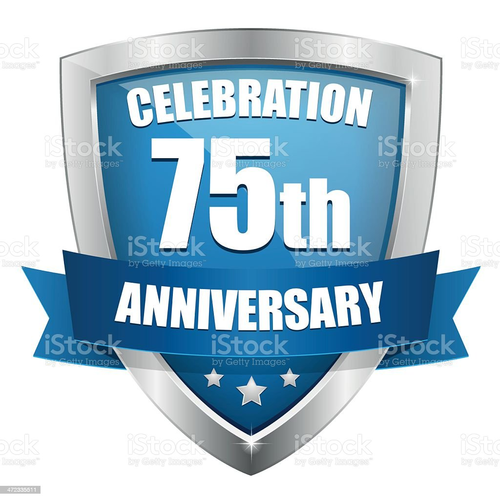 Blue seventy-five year anniversary button royalty-free stock vector art