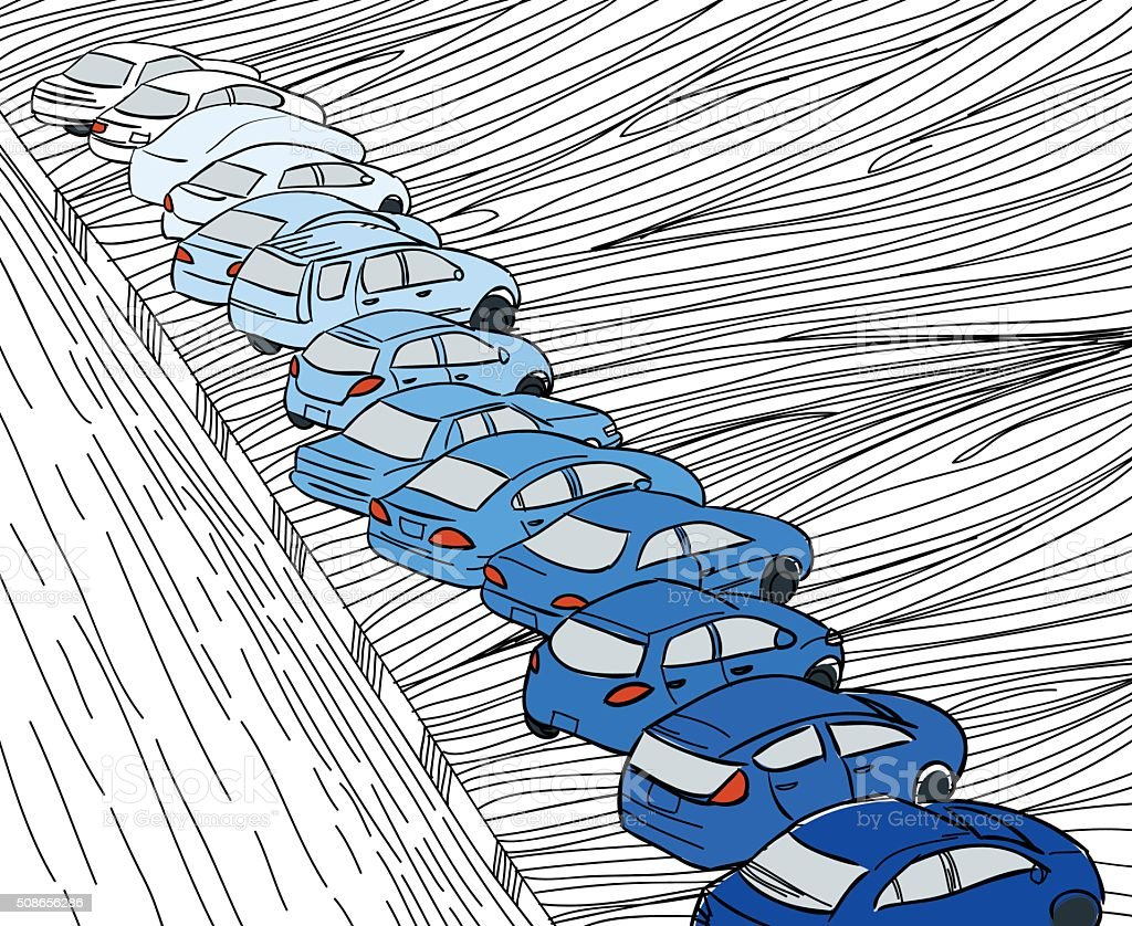 Blue shade cars parking in parking zone outline hand draw vector art illustration