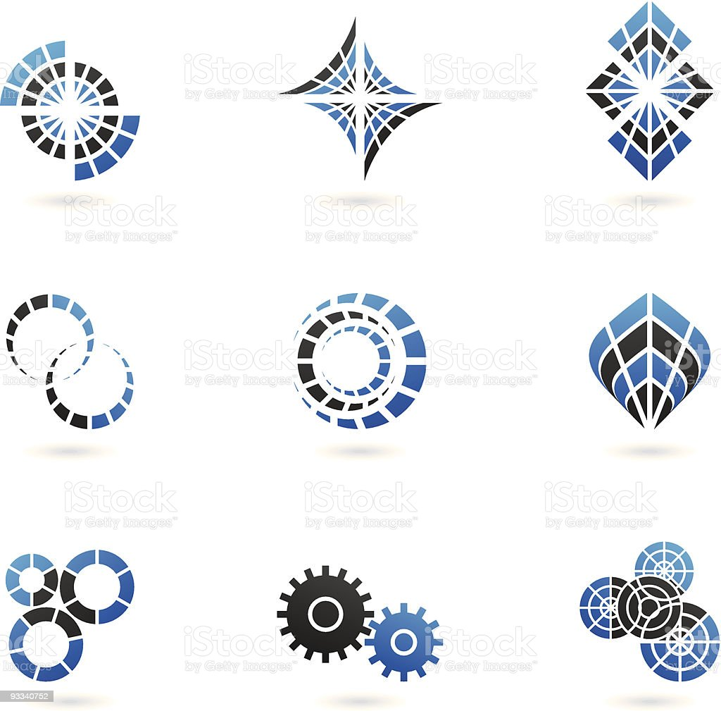 blue shapes and graphic design elements (set of 9) royalty-free stock vector art