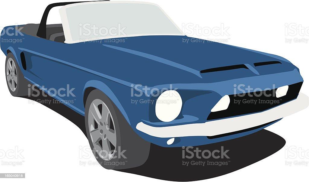 Blue Shelby Mustang vector art illustration