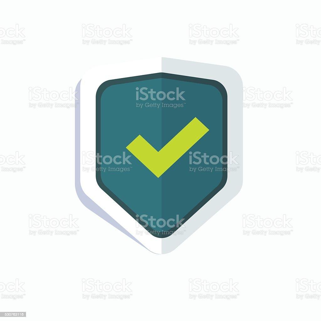 Blue shield with green check mark symbol icon vector art illustration
