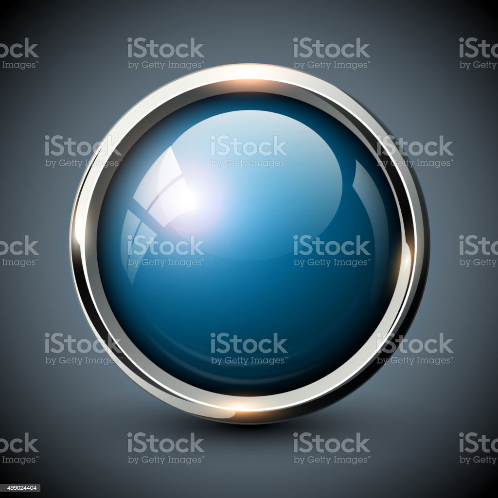 Blue shiny button vector art illustration