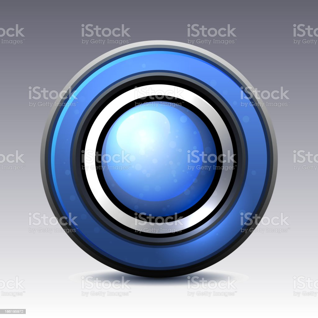 Blue shiny button with metallic elements royalty-free stock vector art
