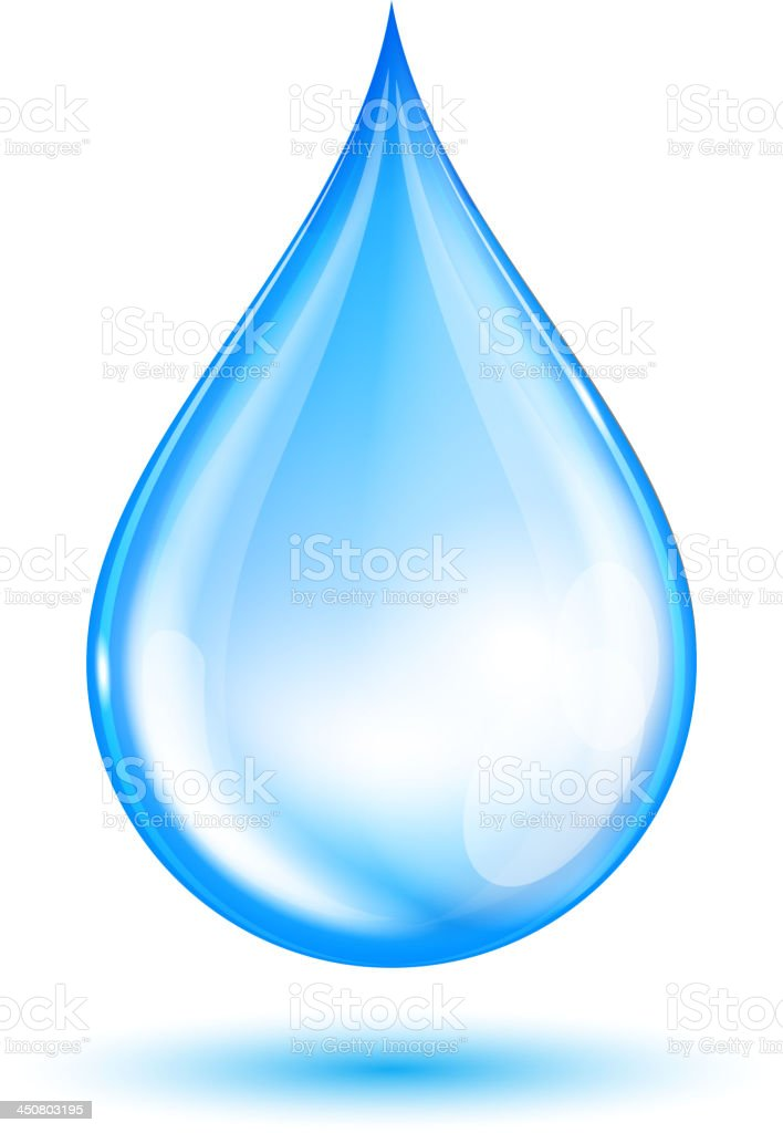 Blue shiny water drop vector art illustration