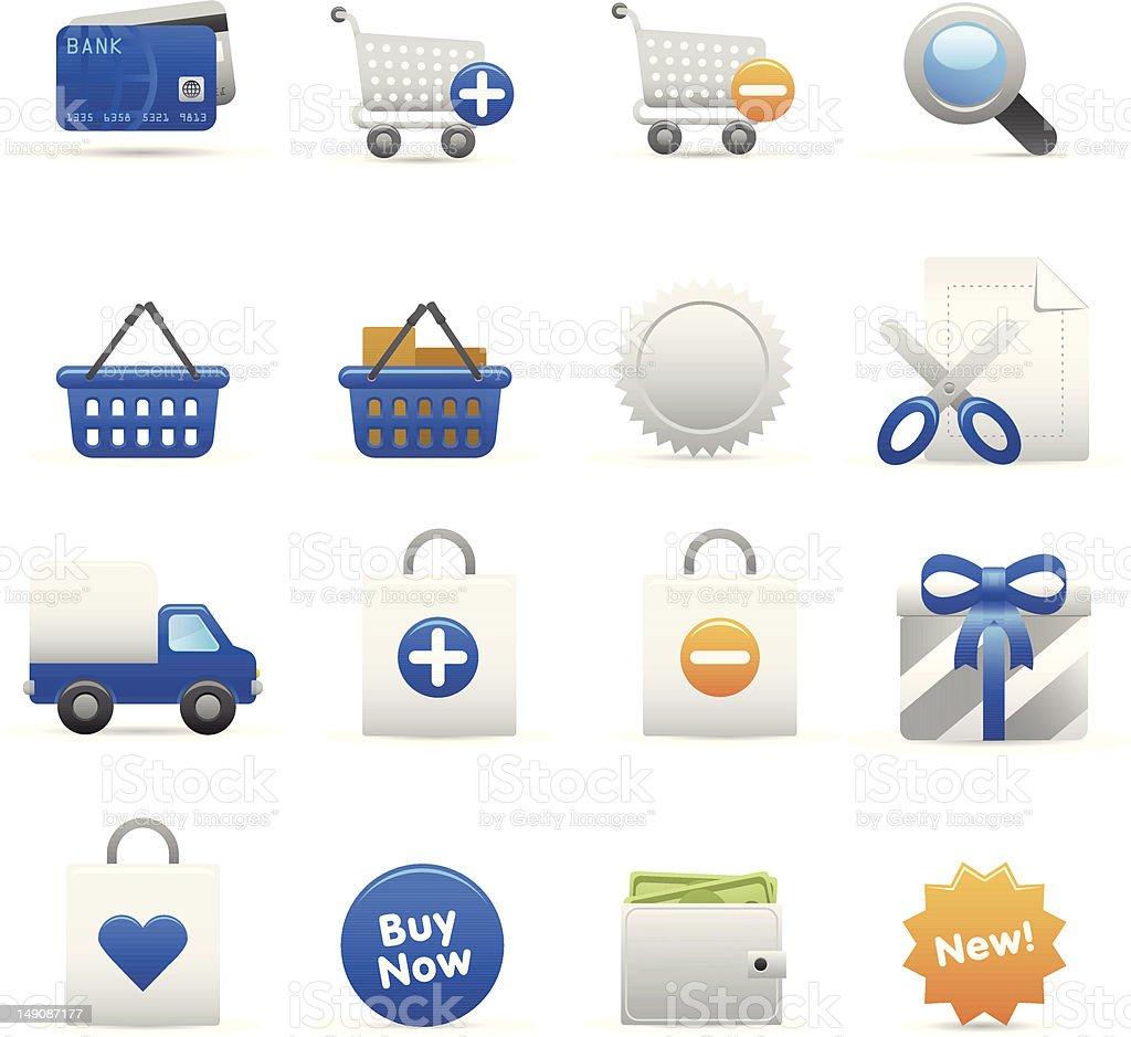 Niebieski zakupy Ikony I stockowa ilustracja wektorowa royalty-free
