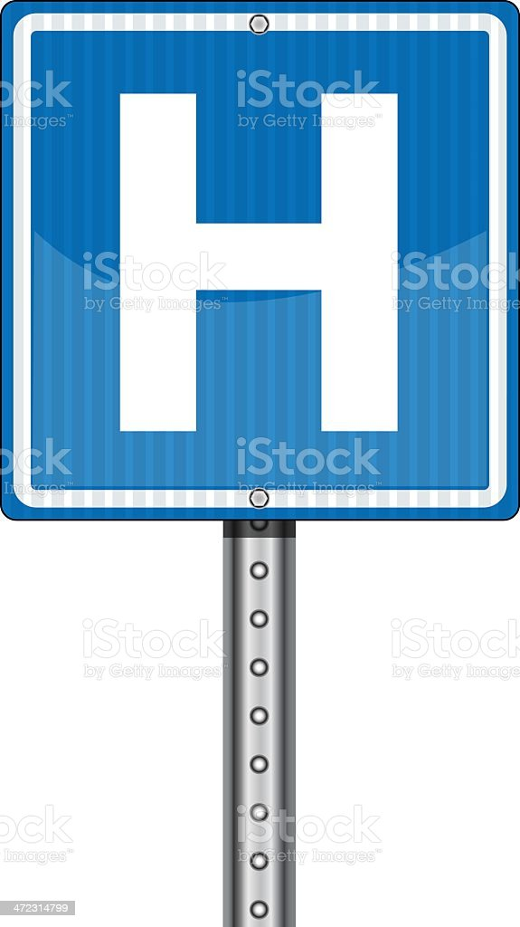 A blue sign with a H indicating hospital nearby royalty-free stock vector art