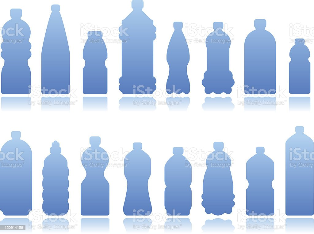 Blue silhouette images of different bottles vector art illustration