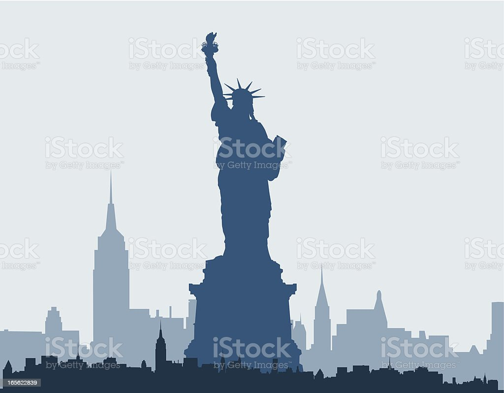 Blue silhouette of Statue of Liberty and New York skyline vector art illustration