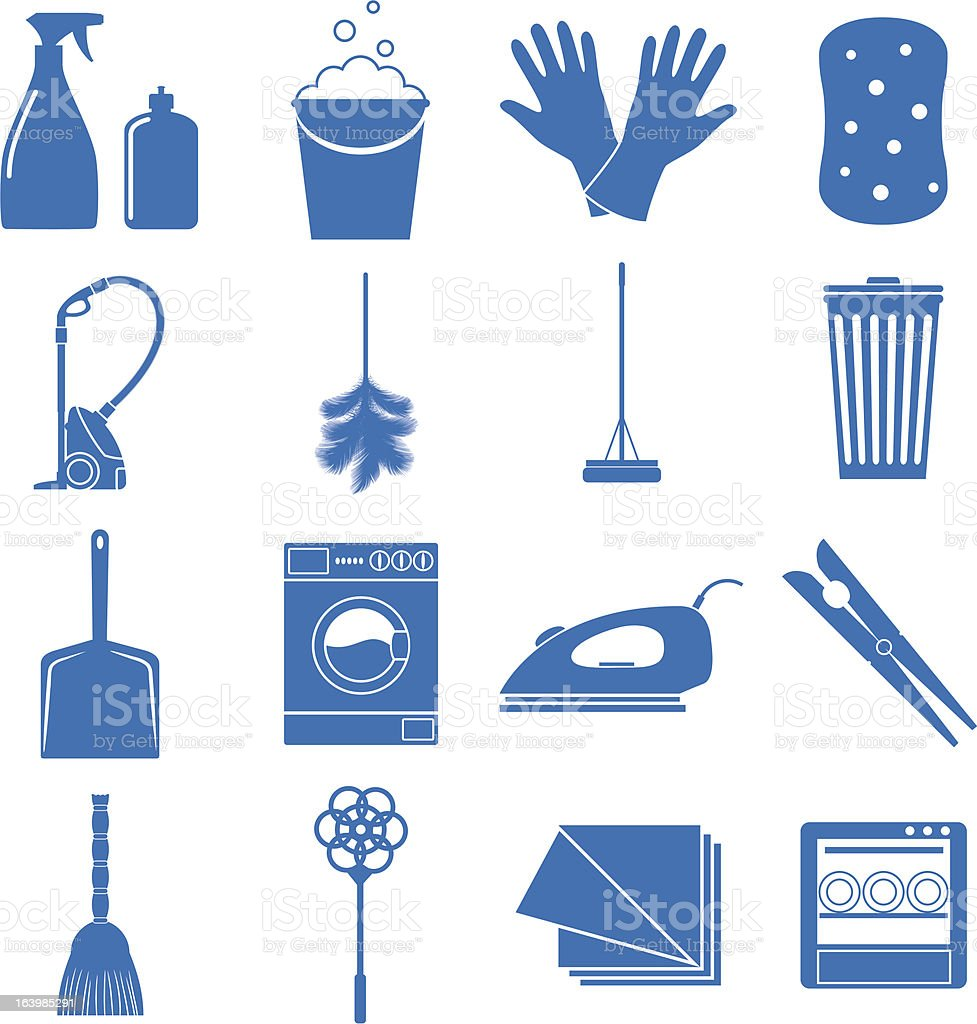 16 blue simple icons relating to household cleaning royalty-free stock vector art