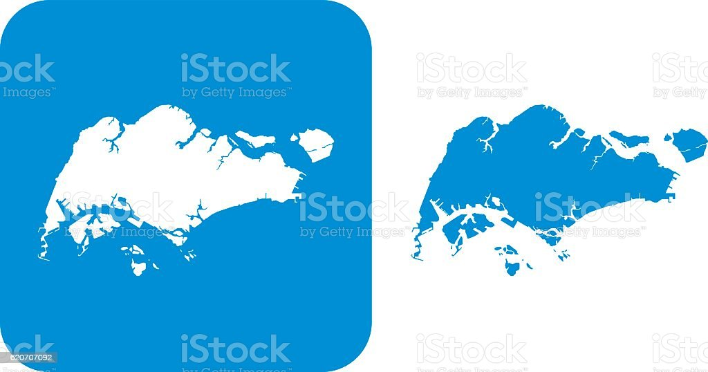 Blue Singapore icons vector art illustration