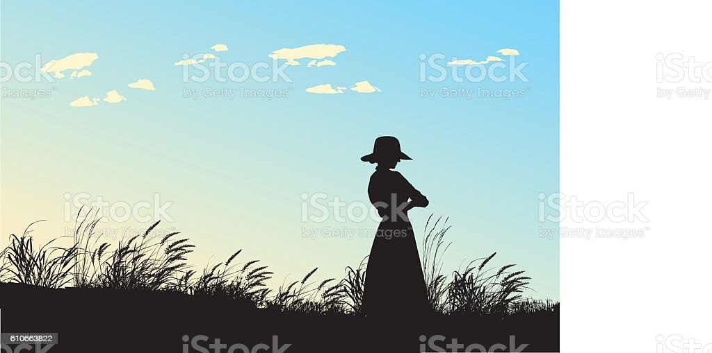 Blue Skies And Open Field vector art illustration