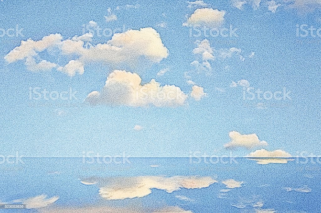 Blue Sky and Clouds with mirrored reflection in water vector art illustration