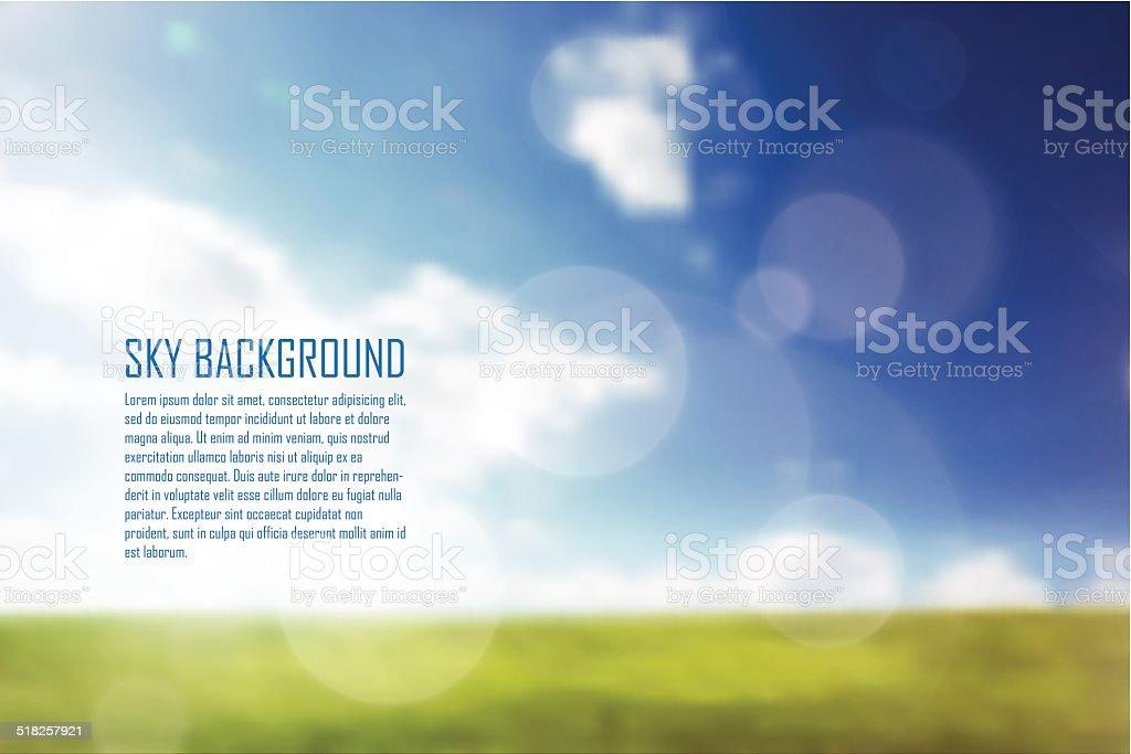 Blue sky and green grass vector art illustration