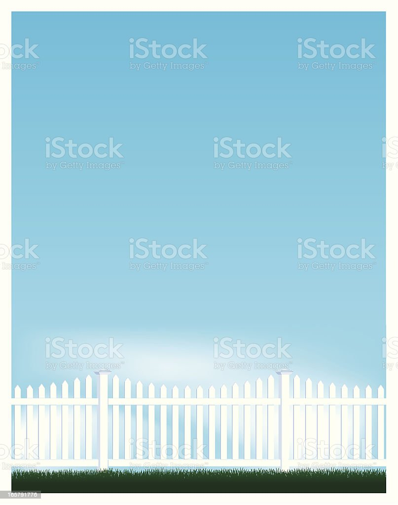 Blue Sky and Picket Fence Background vector art illustration