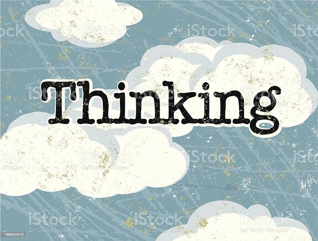 Blue Sky and Thinking Text royalty-free stock vector art