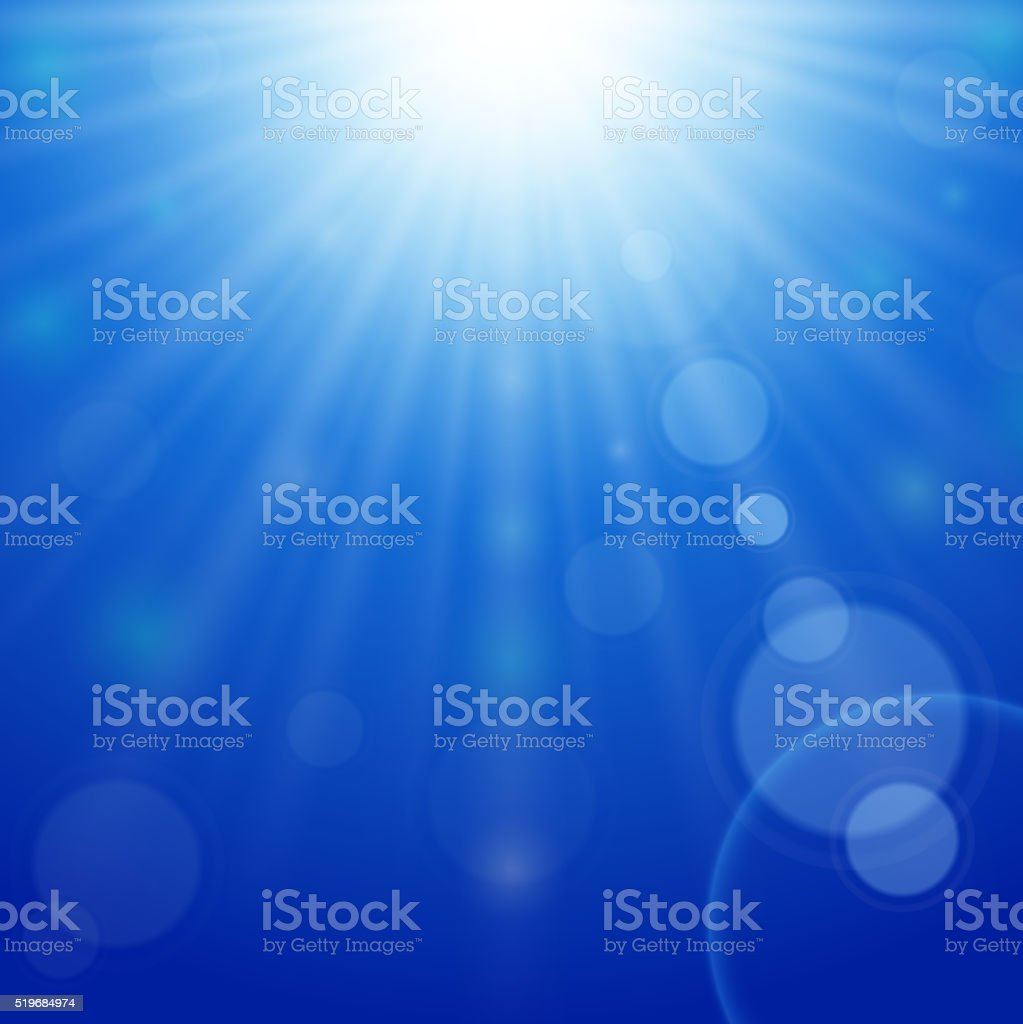 Blue sky background with bright sun and lens flare vector art illustration