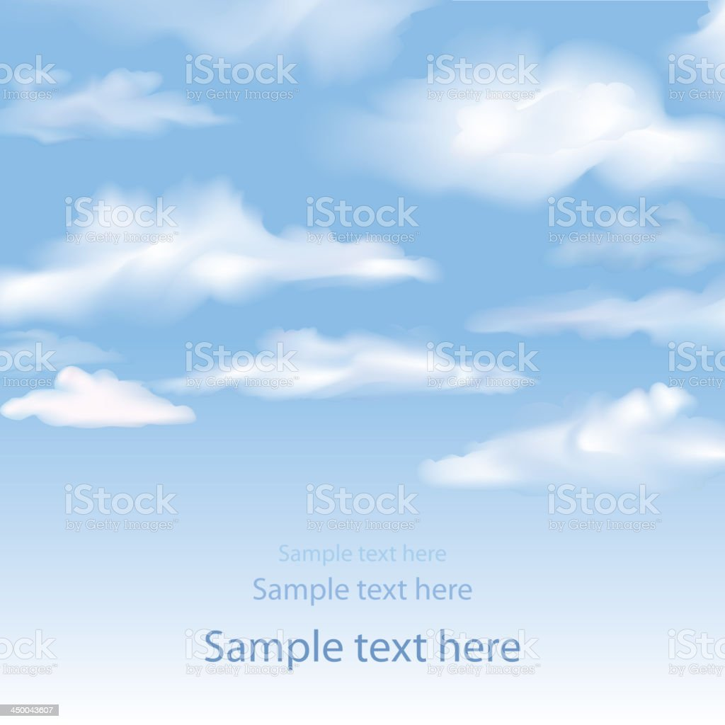 Blue sky background with copy space royalty-free stock vector art