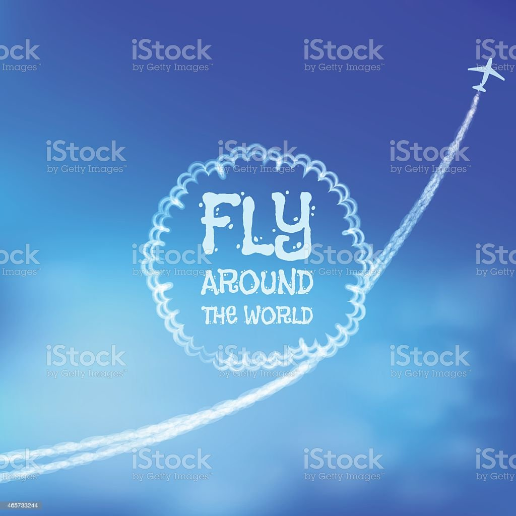 Blue sky background with trace of an airplane. vector art illustration