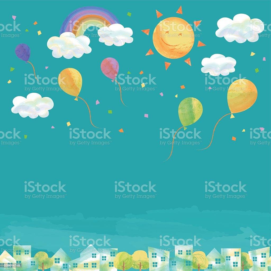 blue sky over the town vector art illustration