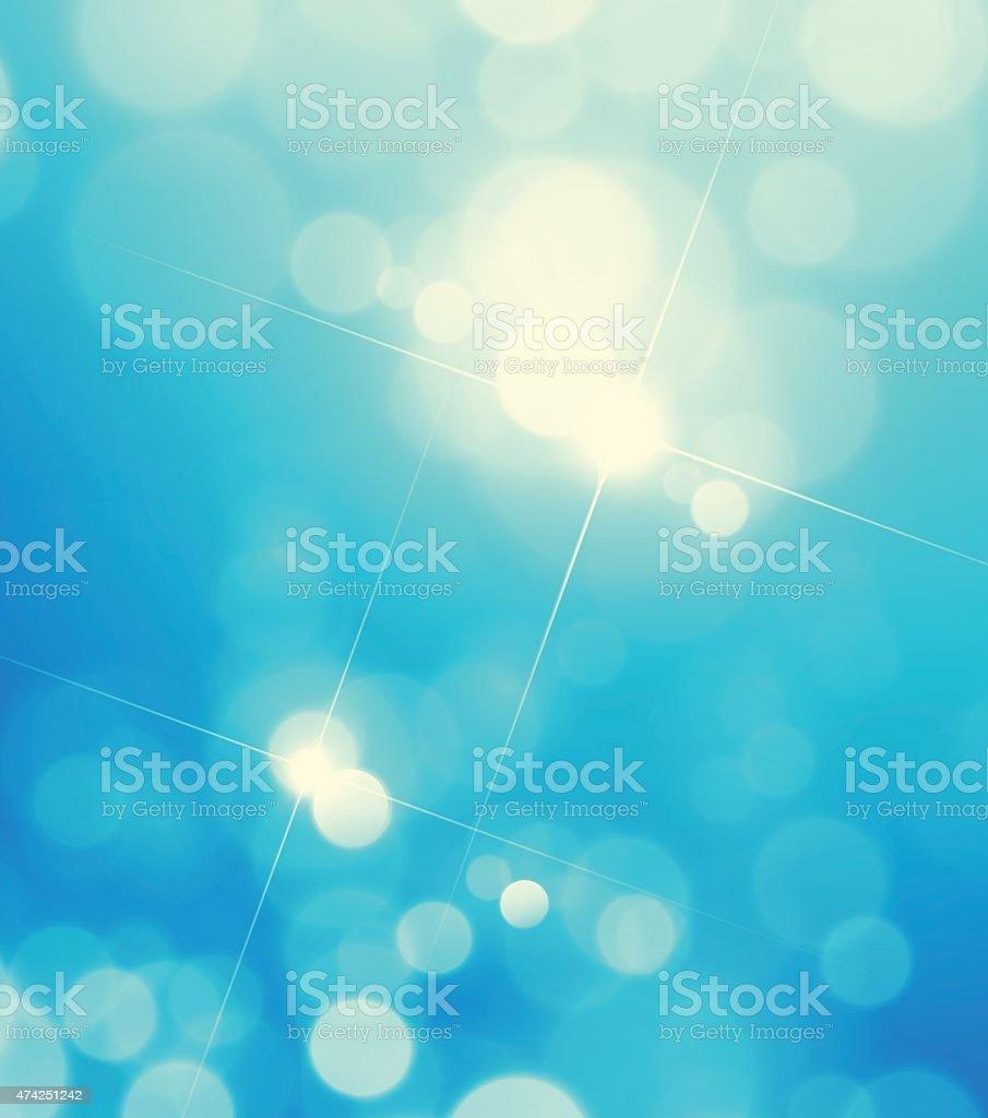 Blue Sky Star Light Bokeh Lens Flare Defocus Vector Background vector art illustration