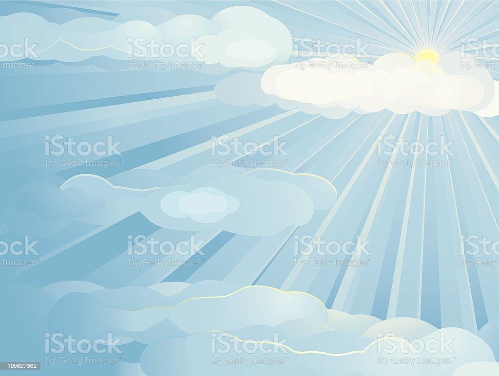 Blue Sky Sun Background Horizontal royalty-free stock vector art