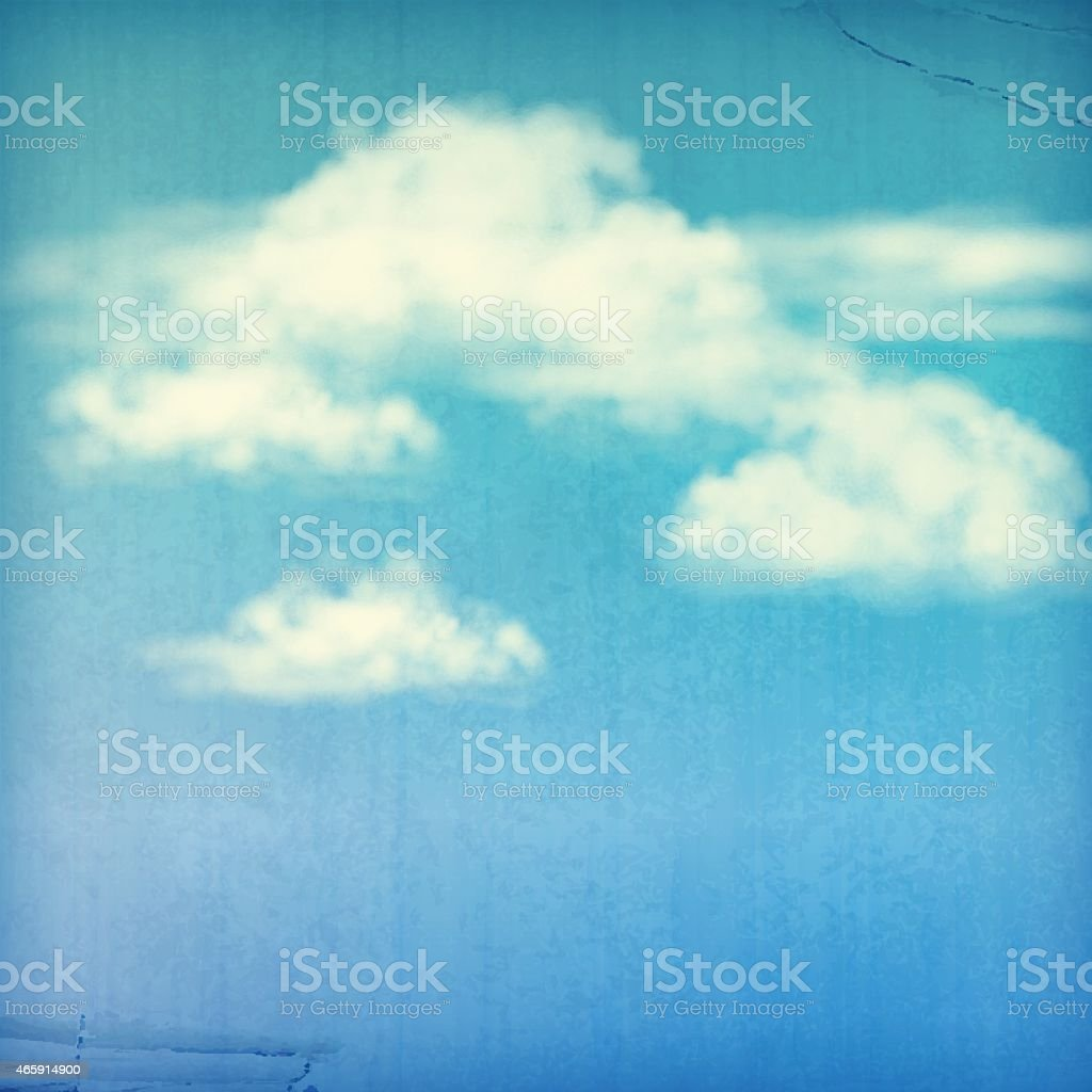 Blue Sky White Clouds Vintage Background vector art illustration