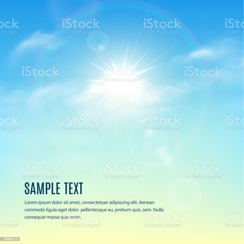 Blue sky with clouds and sun with rays. Vector background vector art illustration