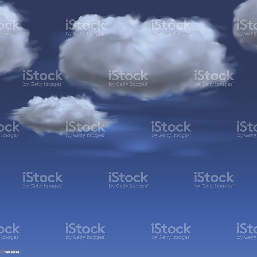 Blue sky with clouds, vector background royalty-free stock vector art