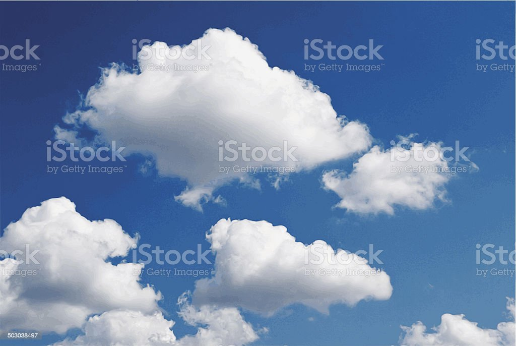 Blue sky with clouds. vector art illustration