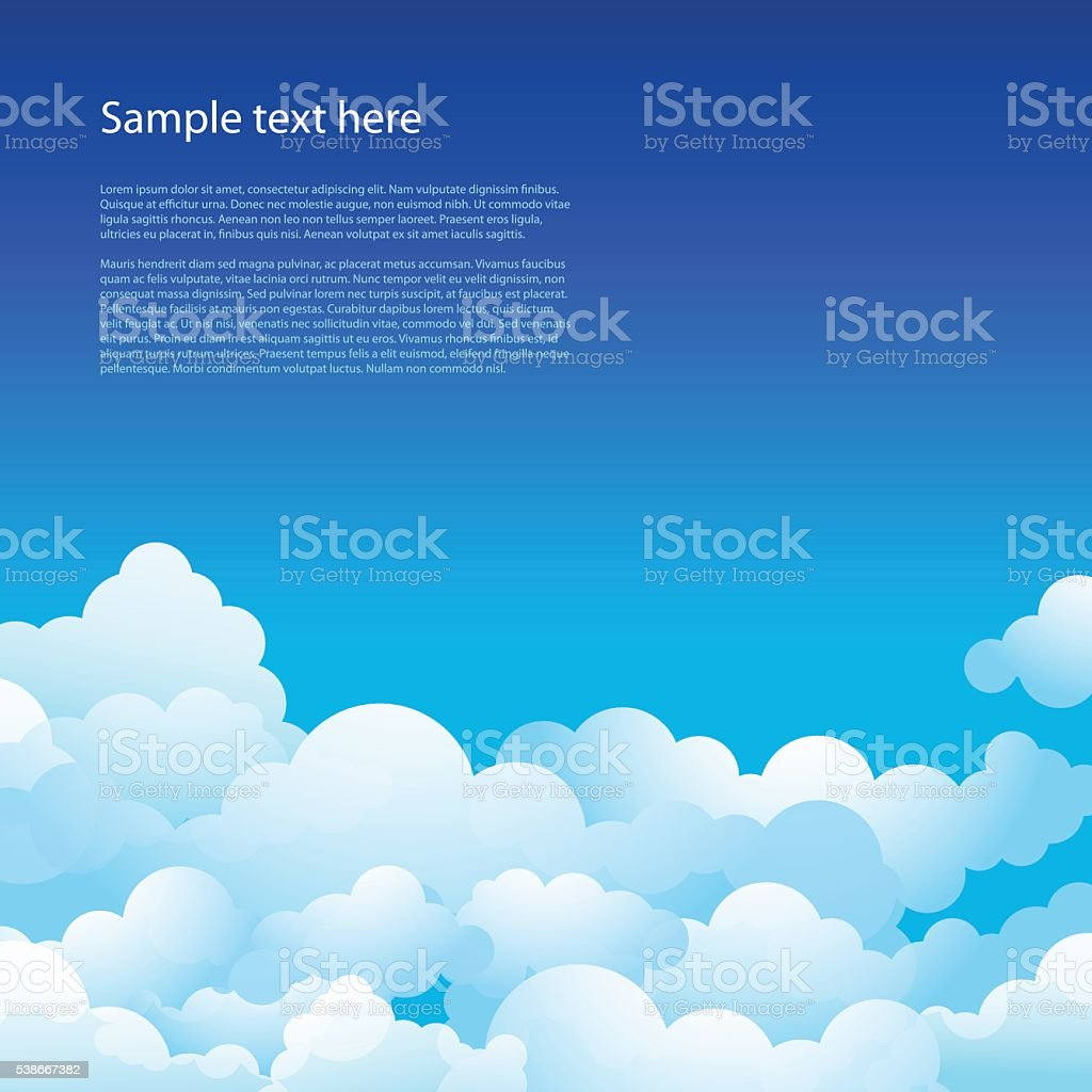 Blue sky with clouds vector art illustration