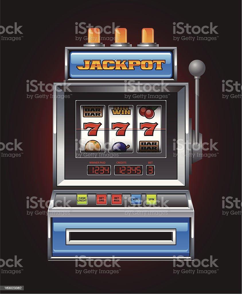 Blue Slot Machine vector art illustration