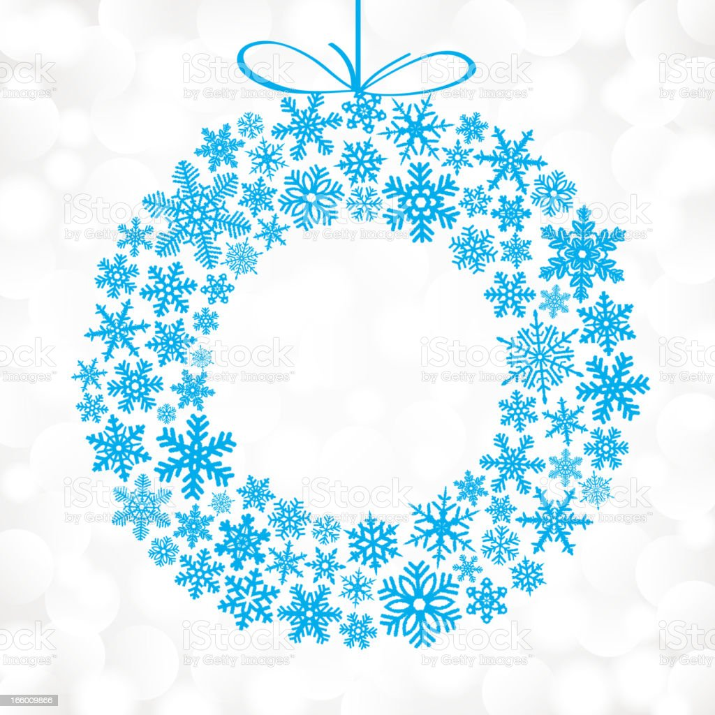 Blue snowflakes in the shape of a Christmas wreath vector art illustration