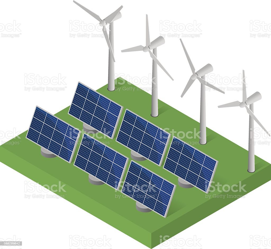 Blue Solar panels. Flat isometric. vector art illustration